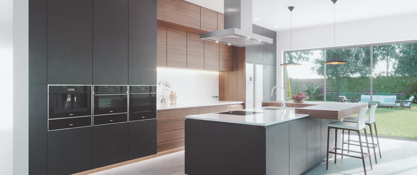 Hình ảnh phòng bếp hiện đại với máy hút mùi Bosch DWB77CM50