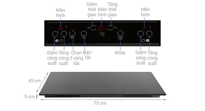 Bảng điều khiển cùng các nút bàn phím của bếp từ TEKA IZ 7200 HL