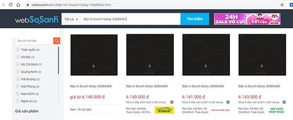 Giá máy bếp từ Bosch Balay 3EB864ER trên websosanh