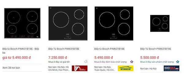Giá bếp từ Bosch PIM631B18E trên websosanh