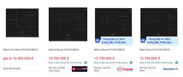 Giá bếp từ Bosch PUC631BB1E trên websosanh