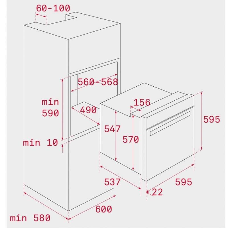 Mô phỏng kích thước lắp đặt lò nướngTeka HLB 840