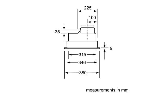 thước lắp đặt chuẩn cho máy hút mùiBosch DHL755BL