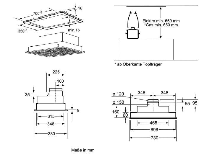 Mô phỏng kích thước lắp đặt chuẩn cho máy hút mùiBosch DHL755BL