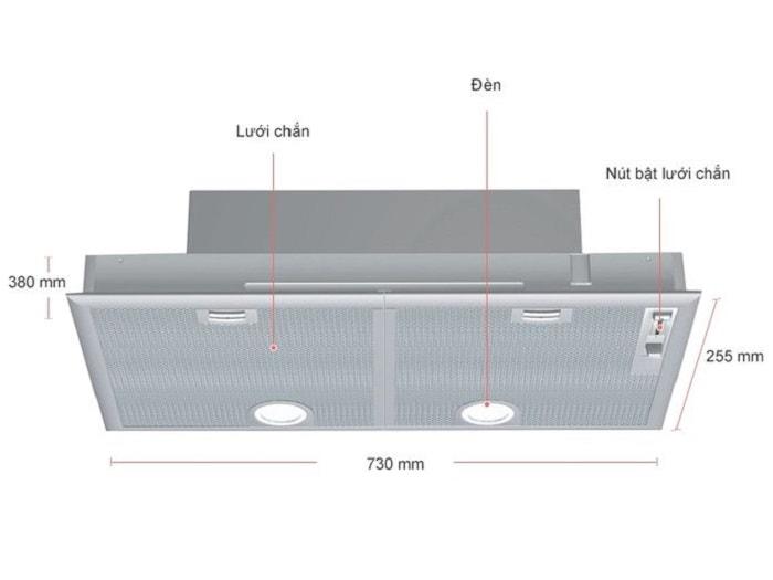 Mô phỏng thiết kế cấu tạo của máy hút mùiBosch DHL755BL