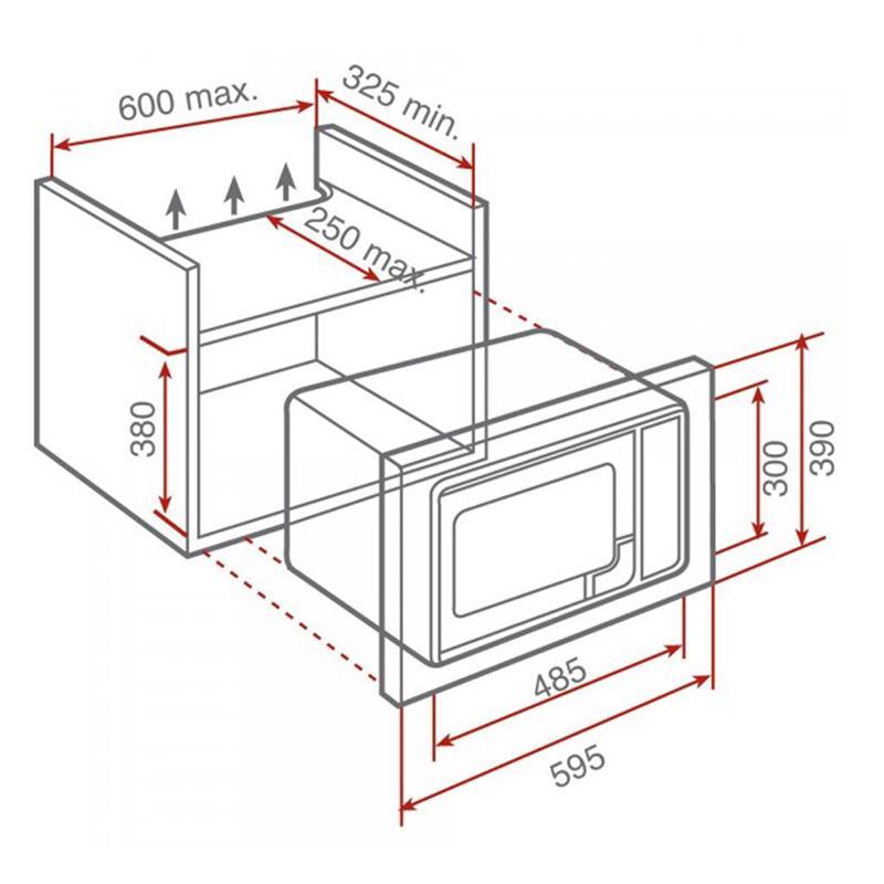 Kích thước lò vi sóng âm tủ Teka ML 820 BI