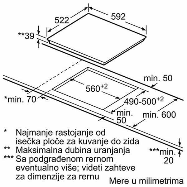 Kích thước lắp đặt bếp từ BoschPID651DC5E