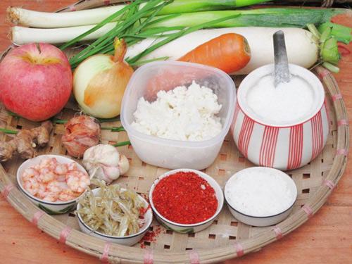 Nguyên liệu làm món kim chi củ cải