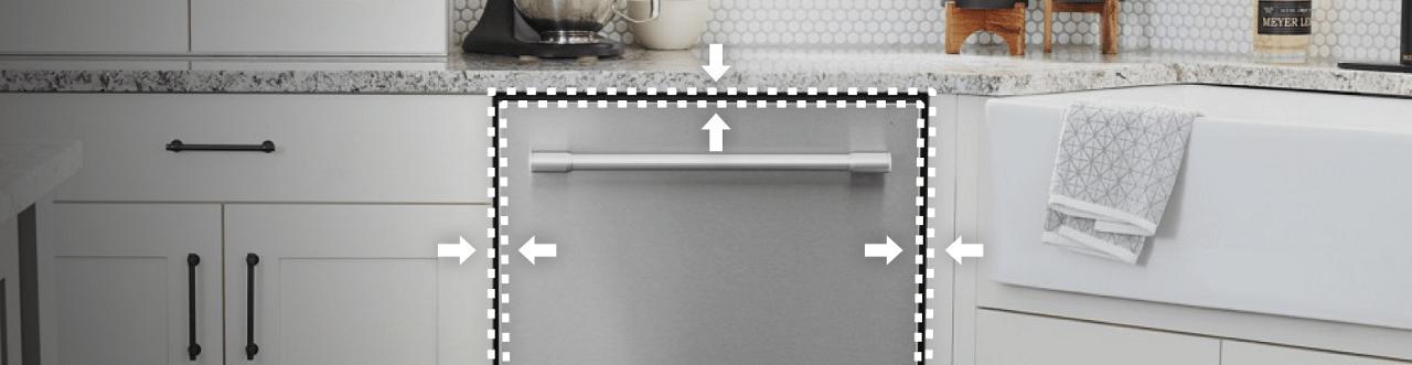 Máy rửa bát phải được đặt cân đối với các bên