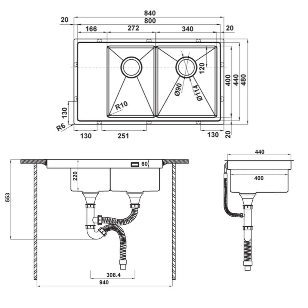 CHẬU INOX HÄFELE HS21-SSD2S90M0