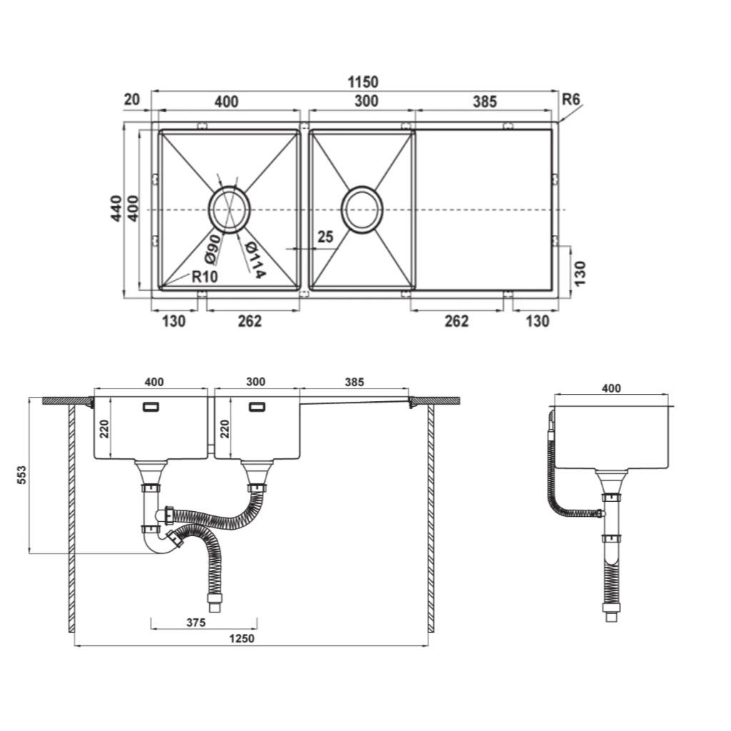 CHẬU INOX HÄFELE HS21-SSD2S90L0