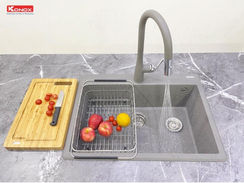 Chậu rửa bát Konox Granite Ruvita 680 Gray0