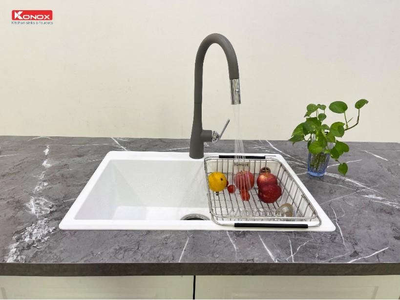 Chậu rửa bát Konox Granite Ruvita 680 Silver2