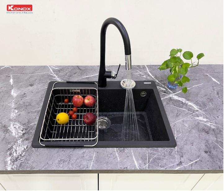 Chậu rửa bát Konox Granite Ruvita 680 Black0