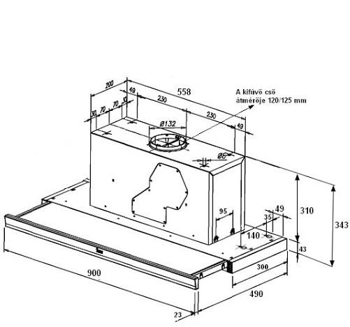 Kích thước chi tiết của máy hút mùi Teka CNL1 9000