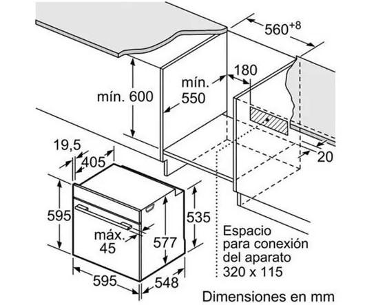 Kích thước lò nướng Bosch HBG635HS1