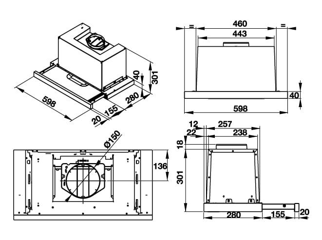 Cấu tạo chi tiết về máy hút mùi HAFELE HH-TG60E 539.81.073