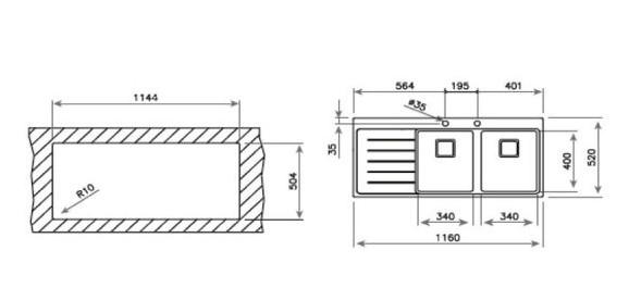 Thông số chi tết của chậu rửa Teka ZENIT R15 2B 1D RHD