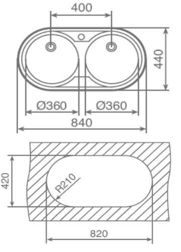 Thông số chi tiết của chậu rửa Teka DR 80 2B
