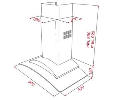Thông số chi tiết của máy hút mùi áp tường TEKA DF 90 GLASS