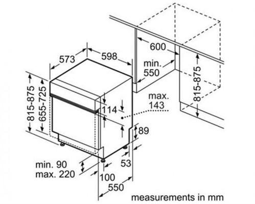 KÍch thước chi tiết của máy rửa bát Bosch SMI69N45EU