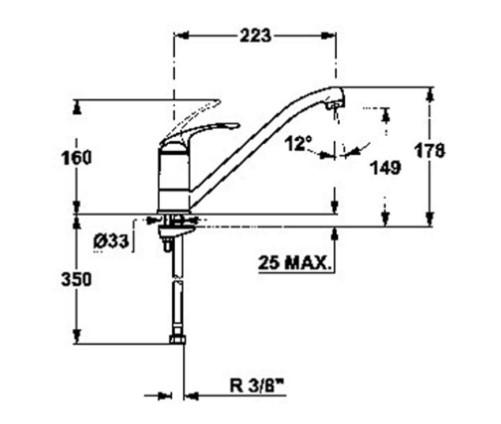 Thông số chi tiết của vòi rửa bát Teka MT 302