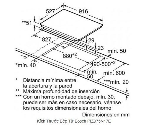 Thông số chi tiết của bếp từ Bosch PIZ975N17E