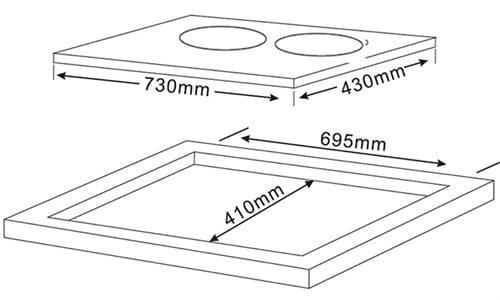 Bản vẽ kỹ thuật của bếp từ Teka IBC 72301