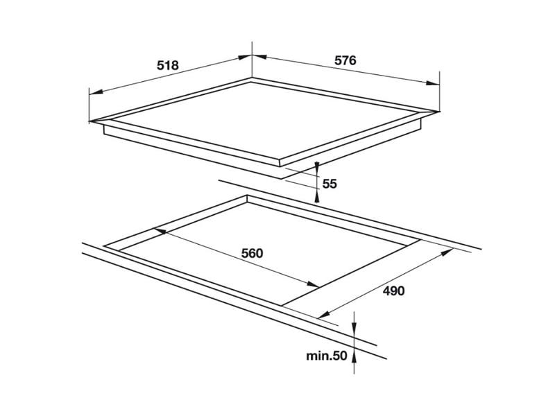 Mô phỏng kích thước lắp đặt bếp từHafele HC-I604C 535.02.211