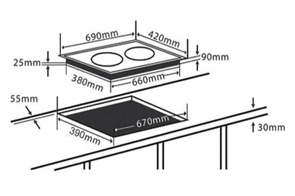 Kích thước bếp từ Chefs EH-DIH2000A