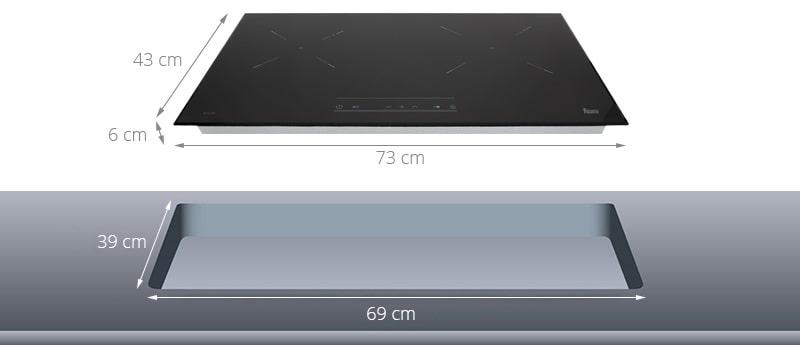 Minh họa kích thước lắp đặt bếp từTeka IZ 7210