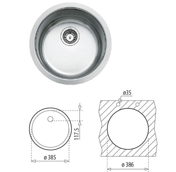 Thông số chi tiết của chậu rửa Teka BE 39 x 18