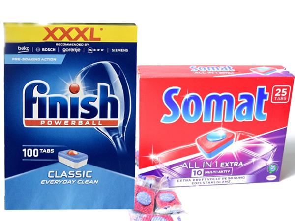 Hộp viên rửa + Chai dầu bóng + Hộp muối của Finish/Somat/Alio
