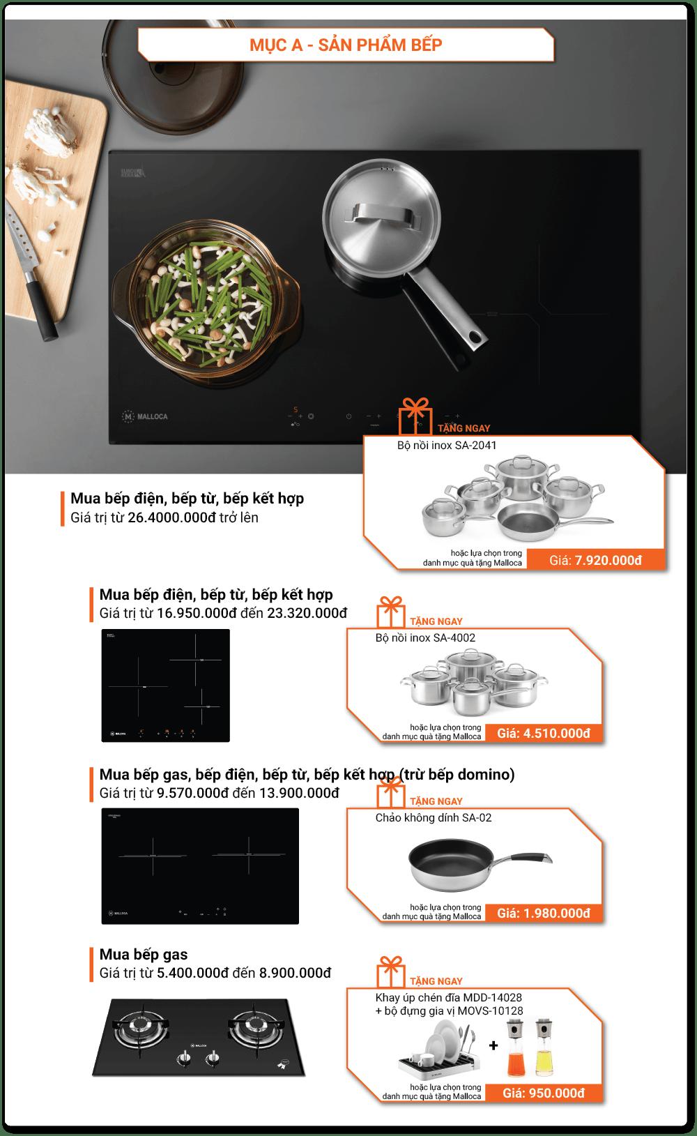 Khuyến mãi thiết bị nhà bếp Malloca