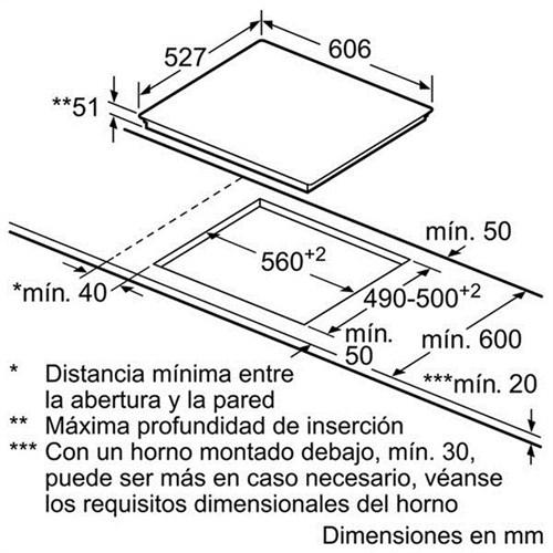 Kích thước chi tiết  bếp từ Bosch PIJ659FC1E