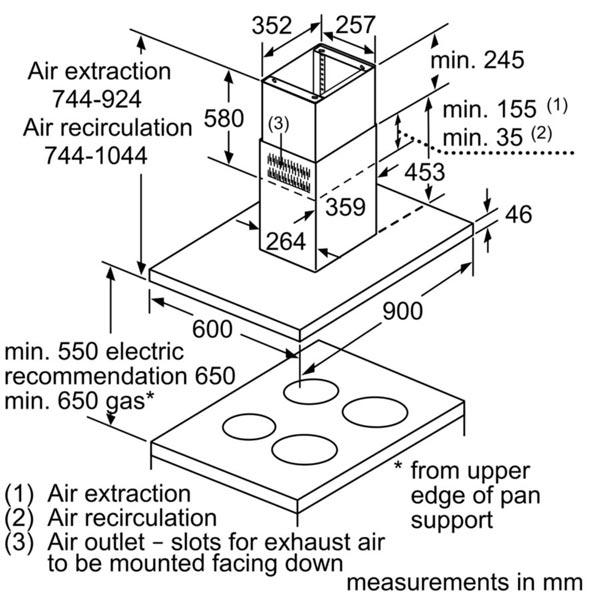 Kích thước chi tết của máy hút mùi Bosch DIB98JQ50B