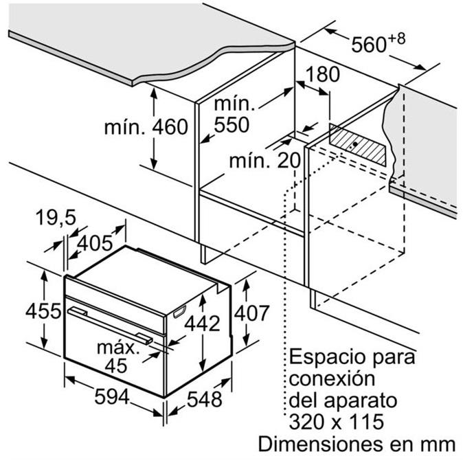 Kích thước chi tiết của lò nướng Bosch CMG633BS1