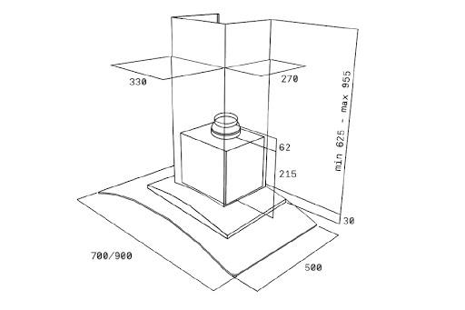 Ảnh bản vẽ kỹ thuật máy hút mùi Teka NC 980