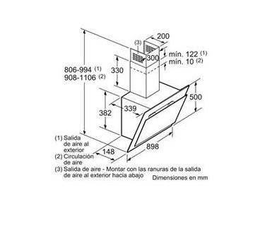 Bản vẽ kỹ thuật của máy hút mùi Bosch DWK97IM60