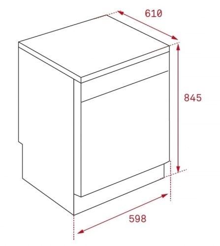 Mô phỏng kích thước máy rửa bátTeka LP9 850