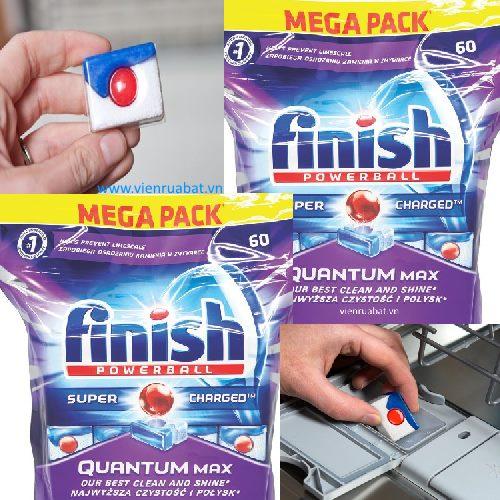 Viên rửa chén Finish Quantum có thể loại bỏ các vết bẩn khó nhằn như vết son môi trên cốc