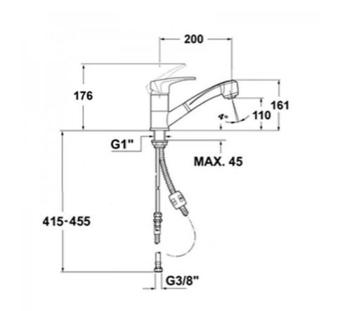 Bản vẽ thông số chi tiết của vòi rửa Teka MB2 PULL OUT