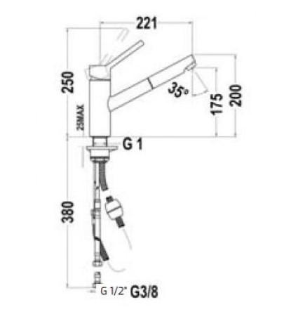Bản vẽ vòi bếp 249780210 Teka VTK 978