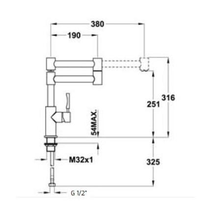 Thông số chi tiết của vòi rửa Teka INX 983