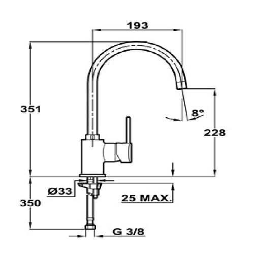 Thông số chi tiết của vòi rửa TEKA ARES