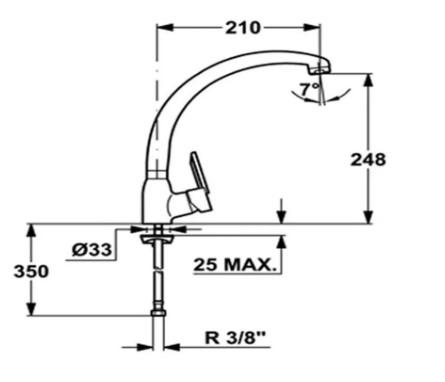 Thông số chi tiết của vòi rửa chén bát Teka MF2 FORUM