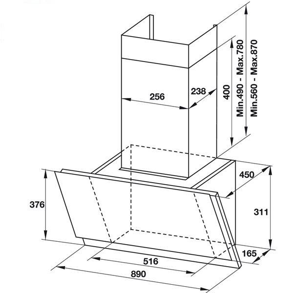 Máy hút mùi gắn tường mặt kính vân Hafele HH-WVS90A 533.86.0030