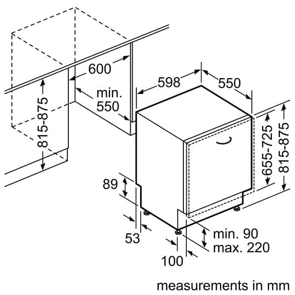 Mô phỏng kích thước lặp đặt máy rửa chén bát BOSCH SMV68TX06E