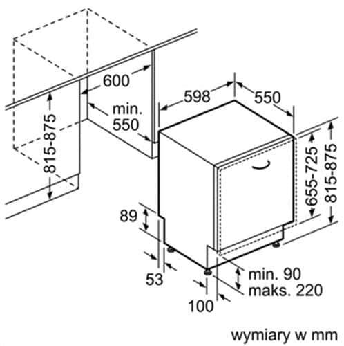 Kích thước lắp đặt máy rửa bátSMI68MS07E Bosch