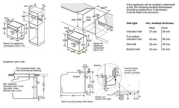 Thông số chi tiết của lò nướng Bosch HSG636ES1